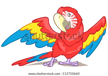 Cartoon macaw isolated on white - stock vector