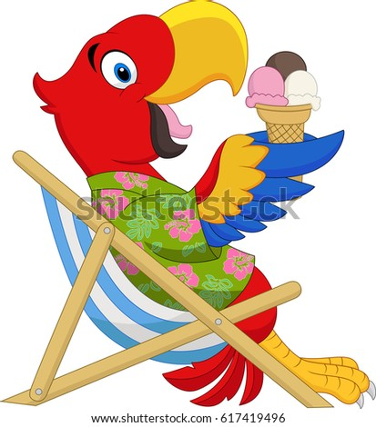Cartoon macaw sitting on beach chair stock vector 617419496 cartoon macaw sitting on beach chair and eating an ice cream voltagebd Gallery