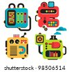 Cartoon machines. Vector illustration of different cute robots and equipment. - stock vector