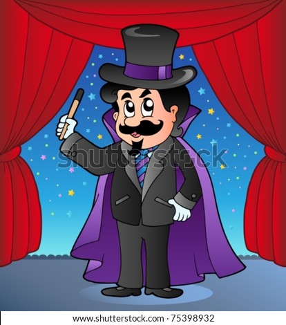 Cartoon magician on circus stage - vector illustration. - stock vector