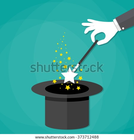 Cartoon Magicians hands in white gloves holding a magic wand with stars sparks above black magic hat. vector illustration in flat design on green background