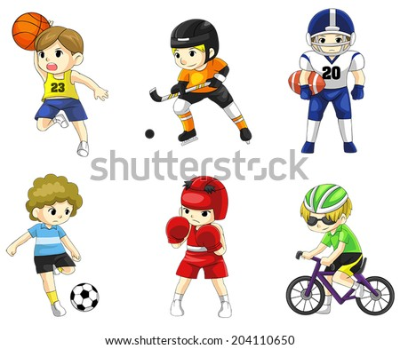 Cartoon male children athlete sportsman icon in action various type of sports such as soccer, American football, boxing, hockey, basketball and cycling, create by vector  - stock vector
