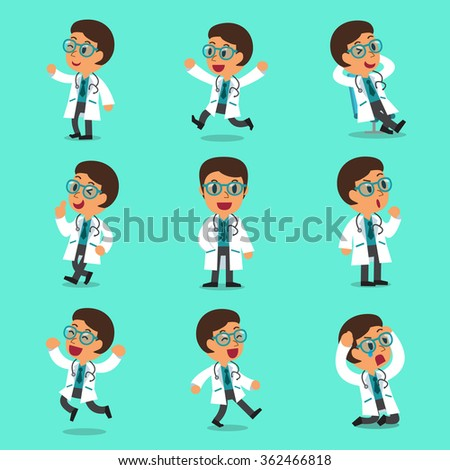 Cartoon male doctor character poses - stock vector