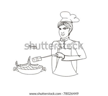 Cartoon Male dressed in grilling attire cooking meat outdoors  - doodles