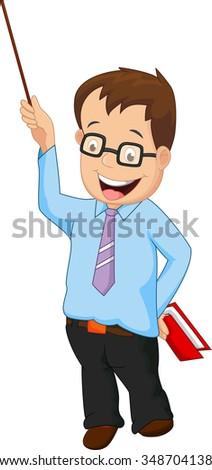 Cartoon male teacher presentation - stock vector