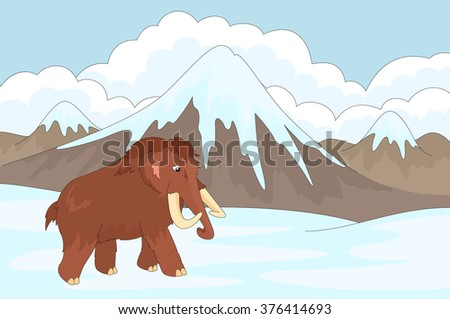 Cartoon mammoth on the background of a prehistoric nature