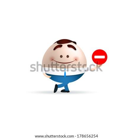 cartoon man and forbidden sign - stock vector