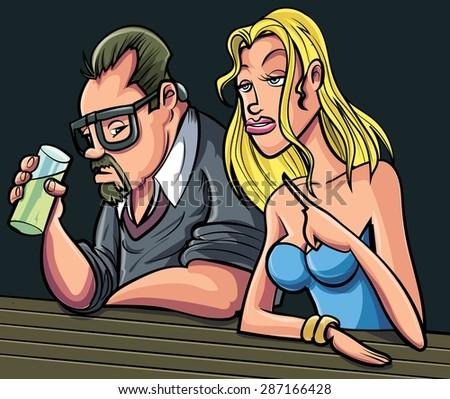 Cartoon man and woman sitting at a bar.  - stock vector