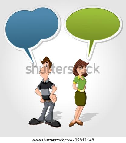 Cartoon man and woman talking with speech balloon - stock vector