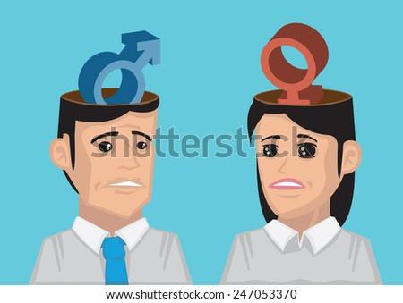 Cartoon man and woman with different gender symbol in their heads. Vector illustration isolated on blue background - stock vector