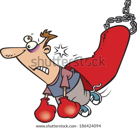 cartoon man being knocked out by a punching bag - stock vector