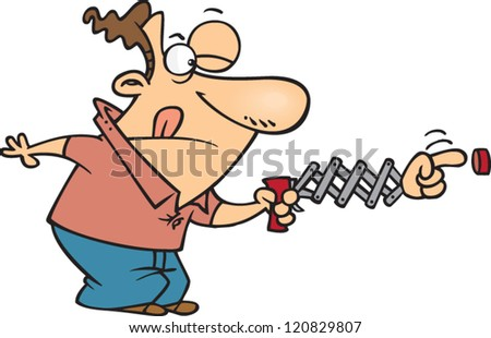 cartoon man concentrating on pushing a button with an extender finger