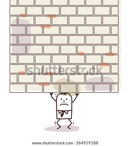cartoon man crushed under a heavy wall - stock vector