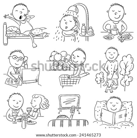 Cartoon man daily activities set, black and white