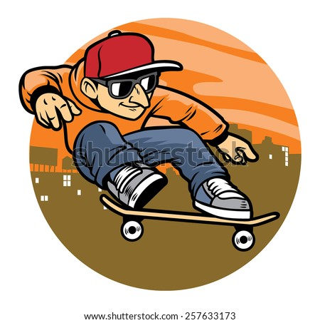 cartoon man doing skateboard jump trick