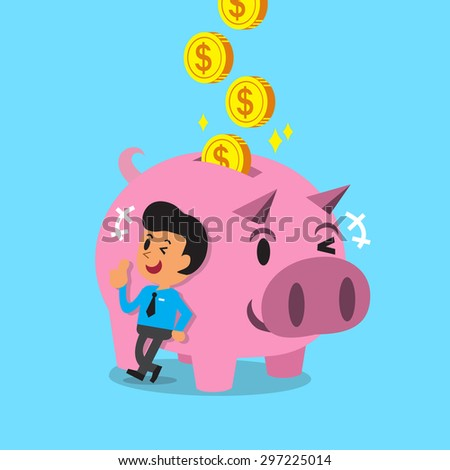 Cartoon man earning money with pink piggy - stock vector