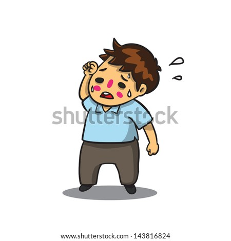 Cartoon man feeling hot and wiping his sweat with his hand in vector drawing