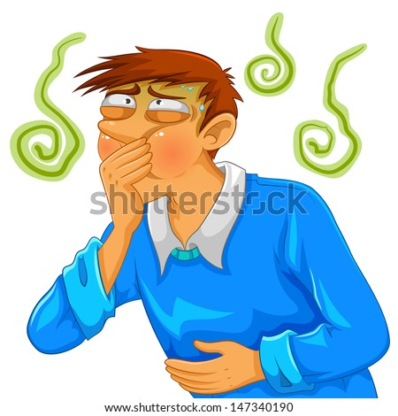 cartoon man feeling nauseous - stock vector