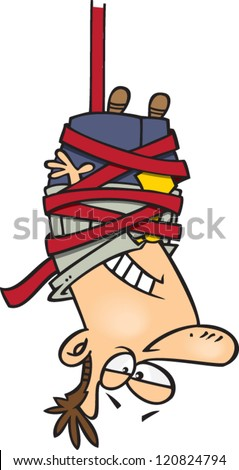 cartoon man hanging upside down tied up in red tape - stock vector