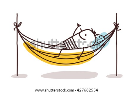 cartoon man having a rest in a hammock - stock vector