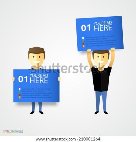 Cartoon man holding advertising placard. Vector illustration - stock vector
