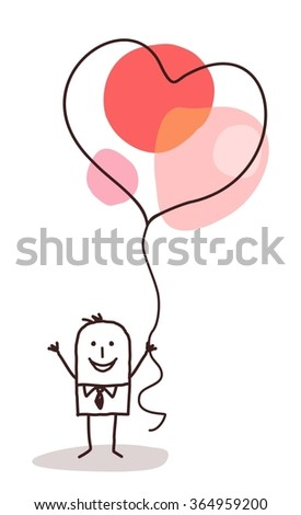 cartoon man holding up a big celebration heart balloon - stock vector