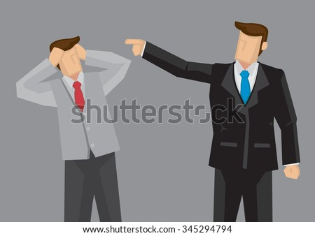 Cartoon man in black suit pointing index finger at stressed out employee in offensive manner. Vector cartoon illustration on criticism at work concept isolated on grey background. - stock vector
