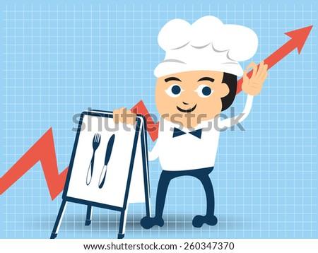 Cartoon man in restaurant business. - stock vector