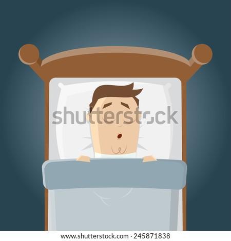 cartoon man is sleeping in his bed - stock vector