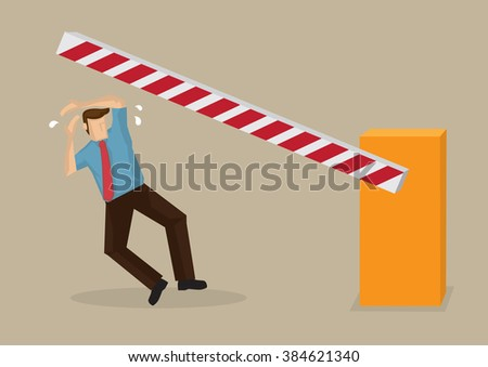 Cartoon man knocked off balance by automated bar barrier at boom gate. Vector illustration on concept for unexpected hazards and personal accidents isolated on plain background. - stock vector