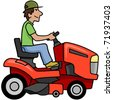 Cartoon man on a riding mower. - stock vector