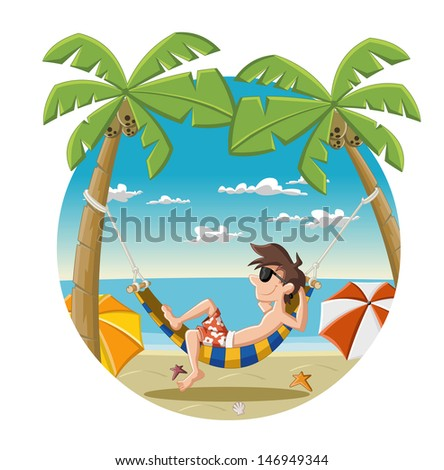 Cartoon man on beautiful tropical beach with blue ocean, umbrellas and palm / Coconut trees. - stock vector
