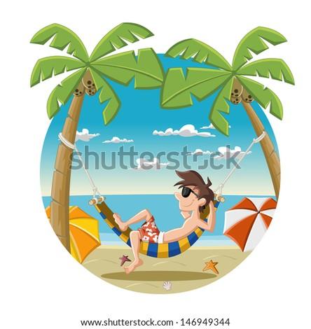 Cartoon man on beautiful tropical beach with blue ocean, umbrellas and palm / Coconut trees. - stock vector