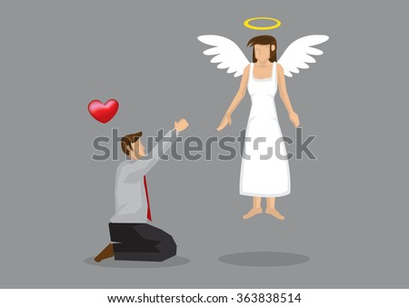 Cartoon man on his knees begging for love from his goddess with wings and halo. Creative vector illustration on love concept isolated on grey background. - stock vector