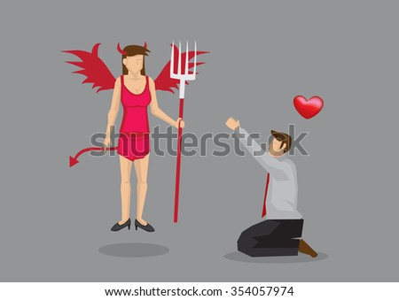 Cartoon man on his knees worshipping devil girl in red sexy lingerie. Creative vector illustration isolated on grey background.  - stock vector