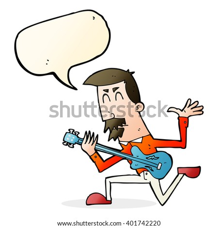 cartoon man playing electric guitar with speech bubble