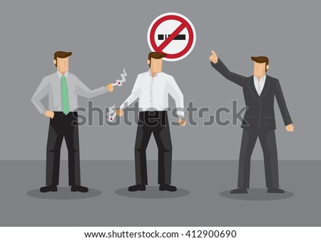 Cartoon man pointing at No Smoking to smokers taking cigarette break. Vector illustration on smoking ban in workplace isolated on grey background. - stock vector