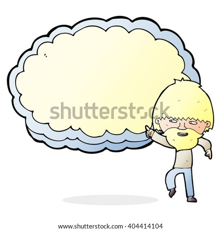 cartoon man pointing at text cloud space - stock vector