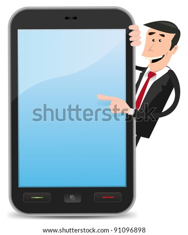 Cartoon Man Pointing Smart phone/ Illustration of a cartoon funny and happy businessman pointing an advertisement sign  on a smart phone device