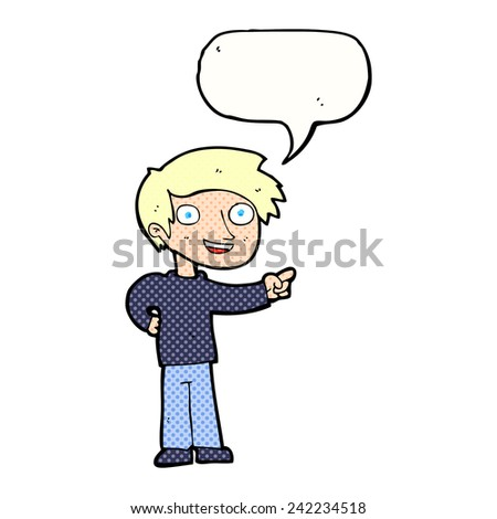 cartoon man pointing with speech bubble - stock vector