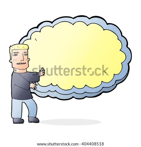 cartoon man presenting text space cloud - stock vector