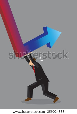 Cartoon man pushing hard to reverse red down arrow into a blue up arrow. Creative vector illustration on working hard to achieve business revival concept isolated on grey background. - stock vector