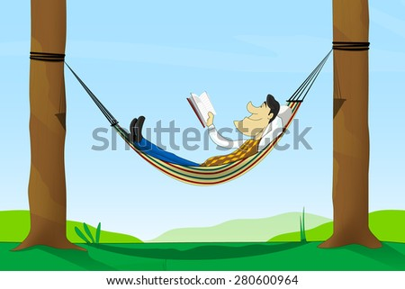 Cartoon man read a book while lying in a hammock - stock vector