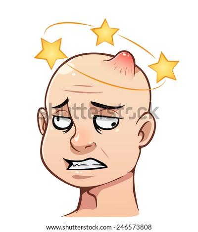 Cartoon man's head with a bump and stars - stock vector