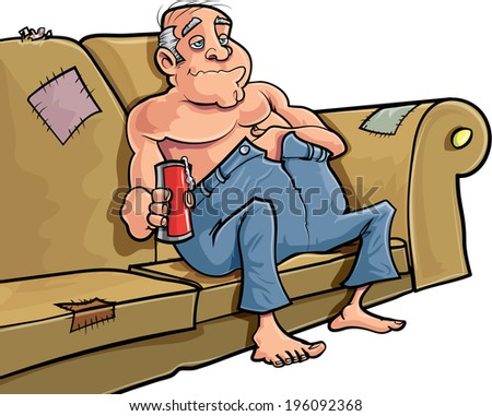 Cartoon man sitting on a couch with a beer - stock vector