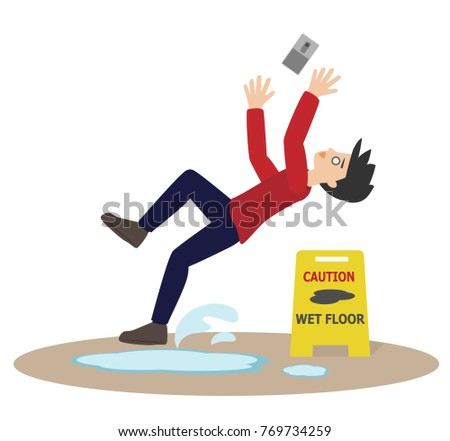 Cartoon Man Slip While Using Mobile Stock Vector 769734259