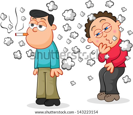 Cartoon man smoking a cigarette while another man is coughing from the