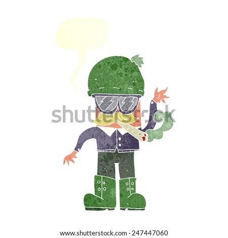 cartoon man smoking marijuana - stock vector