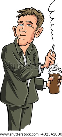 Cartoon man smoking while holding a beer. Isolated on white