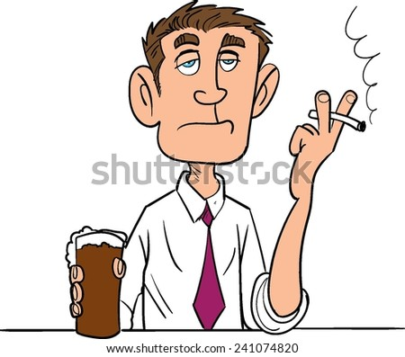 Cartoon man smoking with a beer. Isolated - stock vector